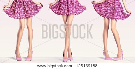 Woman long legs in fashion dress and high heels. Perfect female  sexy legs in stylish pink skirt and summer glamour shoes in various playful poses.
