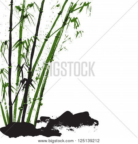 Watercolor background with bamboo and stones. White background. Stock vector Illustration.
