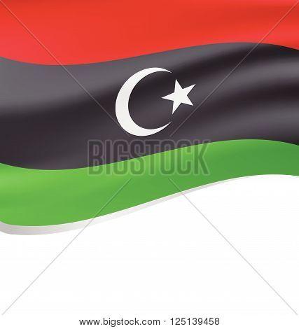Waving flag of Libyan Republic isolated on white background