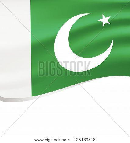 Waving flag of Pakistan isolated on white background