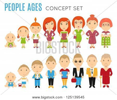 Set of people age flat icons. Vector life stage illustration. Cartoon human generation. Growing process concept. Baby, child, kid, girl, boy, woman, man. Cycle avatar isolated on white background