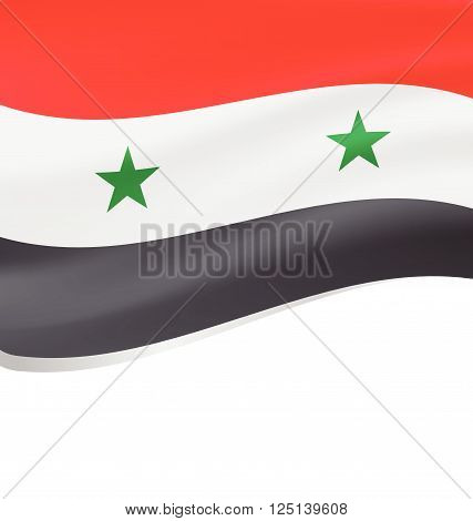 Flag of Syria. Rendered with fabric texture