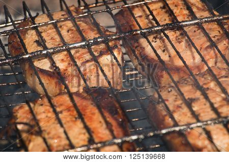 Pork meat cooked on barbecue grill. Grilled meat over the coals on fire.