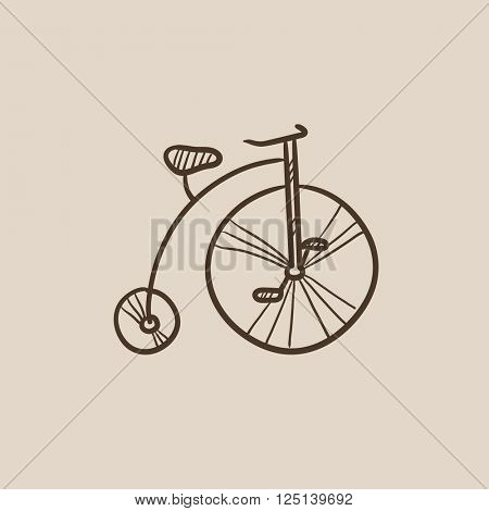 Old bicycle with big wheel sketch icon.