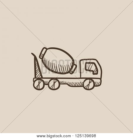 Concrete mixer truck sketch icon.