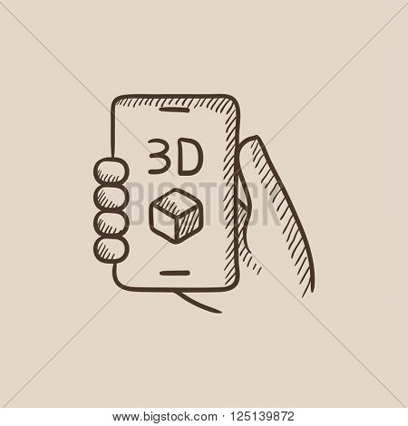 Smartphone with three D box sketch icon.