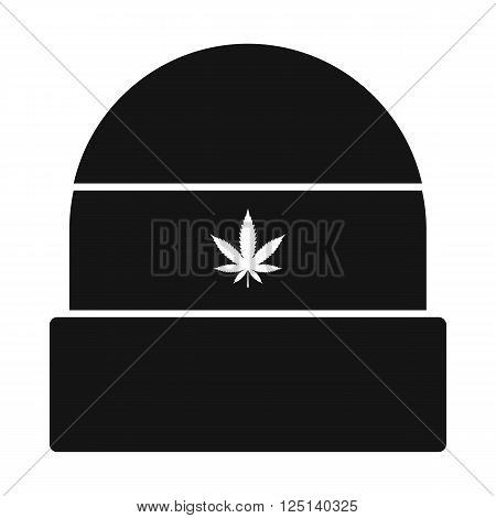 Rasta cap with hemp leaf icon in black simple style isolated on white background