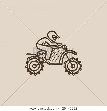 Man riding motocross bike sketch icon.