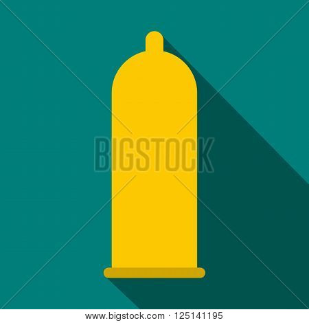 Condom icon in flat style on a blue background