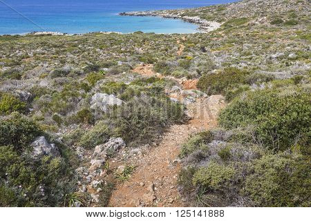 Panoramic View Of The Sea Coast With Turquoise Water. East Coast Of Crete Island, Greece.