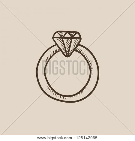 Diamond ring sketch icon.