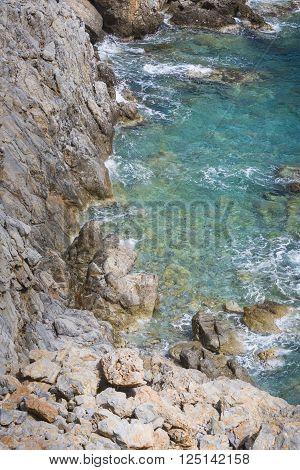 Beautiful Deep blue sea and rocks in Greece