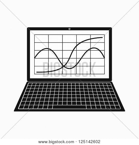 Laptop with business graph icon in simple style on a white background