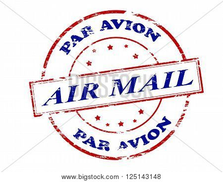 Rubber stamp with text air mail par avion inside vector illustration