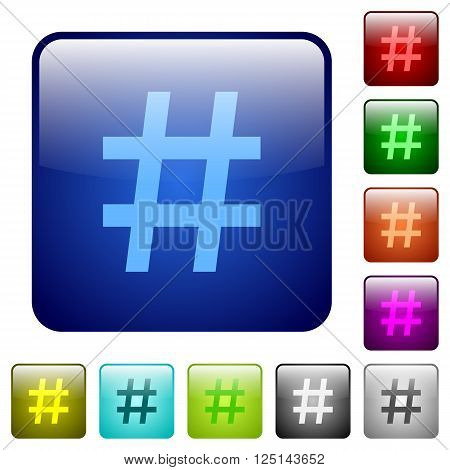 Set of color hash tag glass web buttons.
