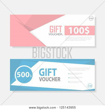 Colorful Gift voucher template with colorful pattern,cute gift voucher certificate coupon design template,Collection gift certificate business card banner calling card poster,Vector illustration