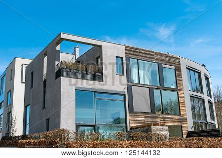 Modern residential house seen in Berlin, Germany