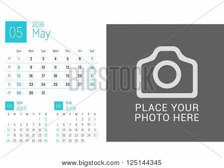 Calendar Template For May 2016. Week Starts Sunday. Calendar Design Print Template. Vector Desk Cale