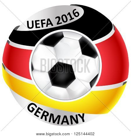 UEFA Germany football team. Soccer Ball with Germany's Flag. Champions League. Euro 2016