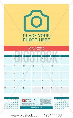 Calendar Template For May 2016. Week Starts Sunday. Wall Calendar Planner Design Print Template. Vec