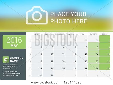 Calendar Template For May 2016. Week Starts Monday. Planner Design Print Template. Vector Calendar.