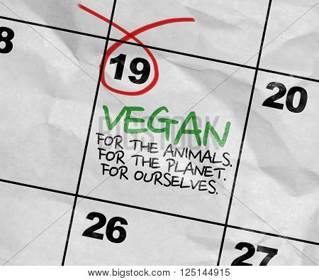 Concept image of a Calendar with the text: Vegan For Better Life
