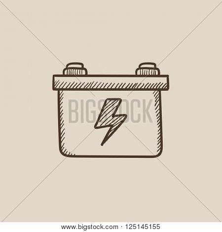 Car battery sketch icon.