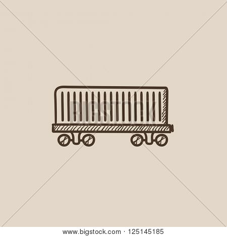 Cargo wagon sketch icon.