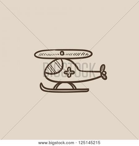 Air ambulance  sketch icon.