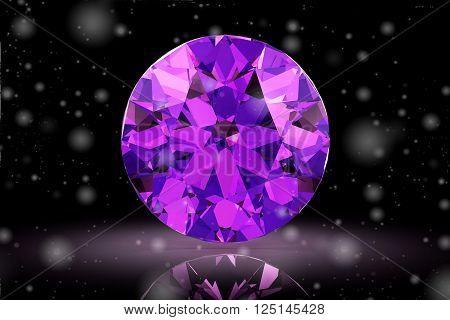 amethyst gem on white background (high resolution 3D image).3D illustration