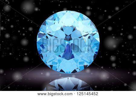 aquamarine gem on white background (high resolution 3D image)