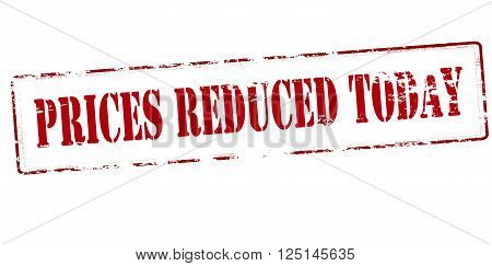 Rubber stamp with text price reduced today inside vector illustration