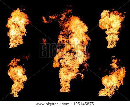 Blazing fire raging flame of burning gas or oil photo set isolated on black background