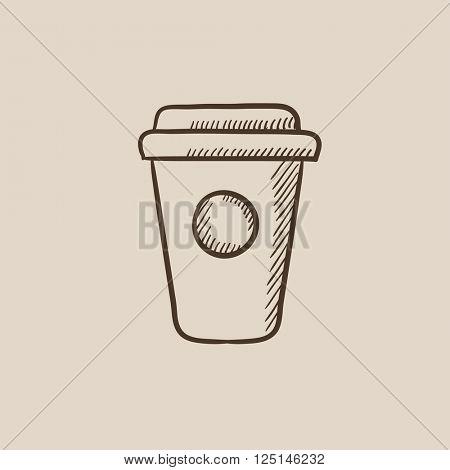 Disposable cup sketch icon.