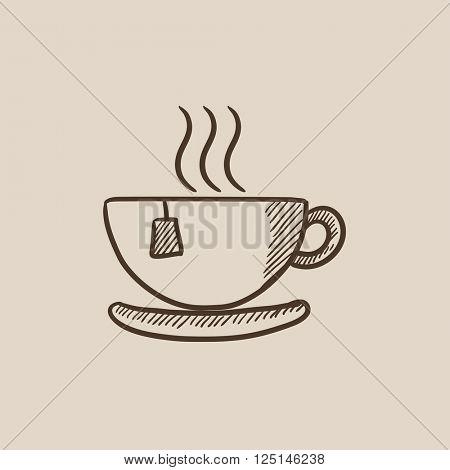 Hot tea in cup sketch icon.