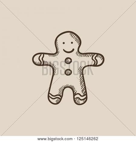 Gingerbread man sketch icon.