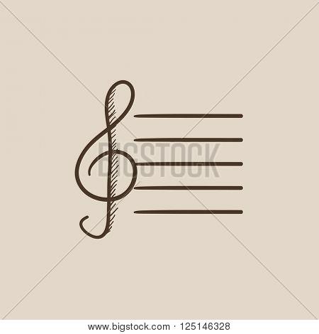Treble clef sketch icon.