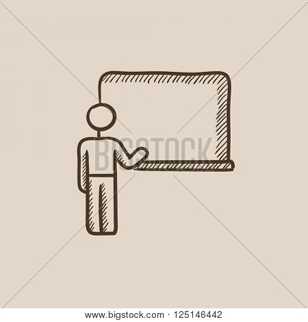 Professor pointing at blackboard sketch icon.
