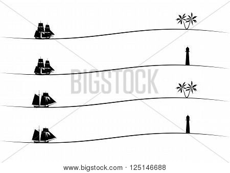 set of vector borders with tall ships palm and lighthouse