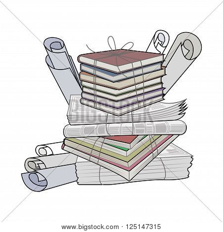 Waste paper. Paper waste and garbage suitable for recycling. Recycling cardboard old paper. Vector Illustration