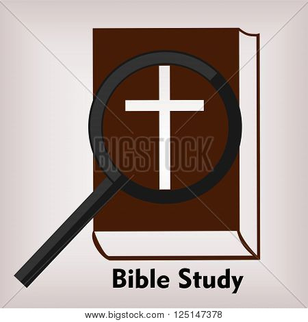 Bible logo Bible with a cross over them with a magnifying glass and the words Bible Study