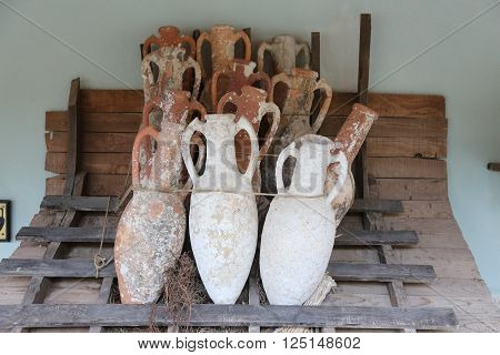 ISTANBUL, TURKEY - MARCH 15, 2016: Amphoras in Bodrum Castle Aegean Coast of Turkey