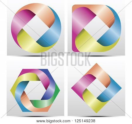 Vector modern colorful abstract circular logo design 4 set. with 4 bows in colors of rainbow. (Very nice on any color of background.) Ideal logo for photographer / photography, business, organization, kids club, camera shop etc.