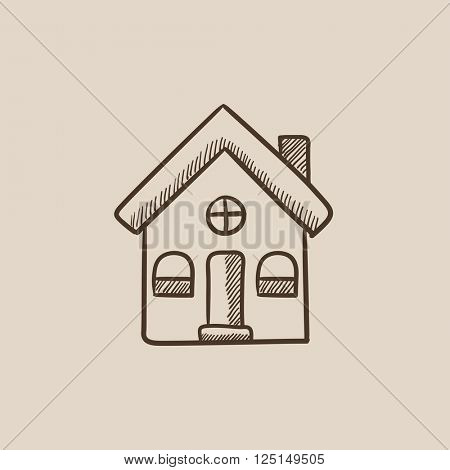 Detached house sketch icon.