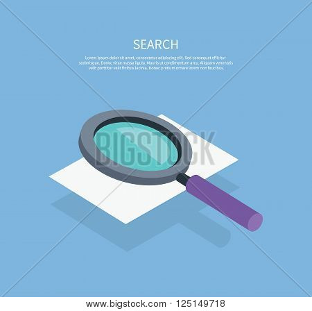 Search icon magnifying glass design flat. Search and magnifying glass, search icon magnifying glass, online search, glass magnifying, zoom glass, find and look, optical magnifying glass illustration