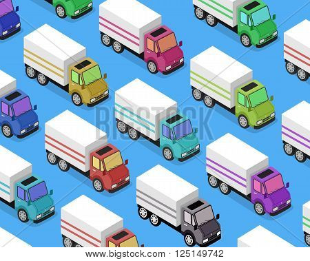 Isometric delivery lorry car icon. 3d delivery vector truck. Service van fast delivery concept. Isometric cargo vehicle van transport truck car isolated on blue background