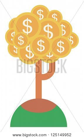 Money tree with golden coins