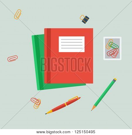 Work table tablet and document design flat. Work and tablet, workplace office, office workplace, business table, workspace place, page view top, creativity worktable, folder and document illustration
