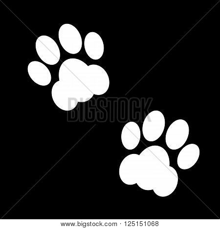 Couple black and white animal footsteps. Vector illustration.