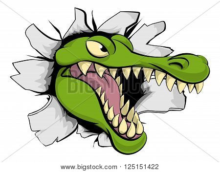 Alligator Or Crocodile Breaking Through Background